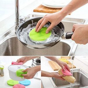 3- Pack Kitchen Multipurpose Silicone Sponges Blue/Green/Pink