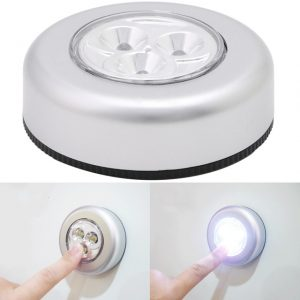 Battery-powered LED push lamp